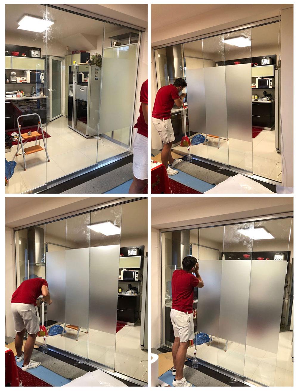 Separare bucatarie de livingcu sticla securizata glisanta